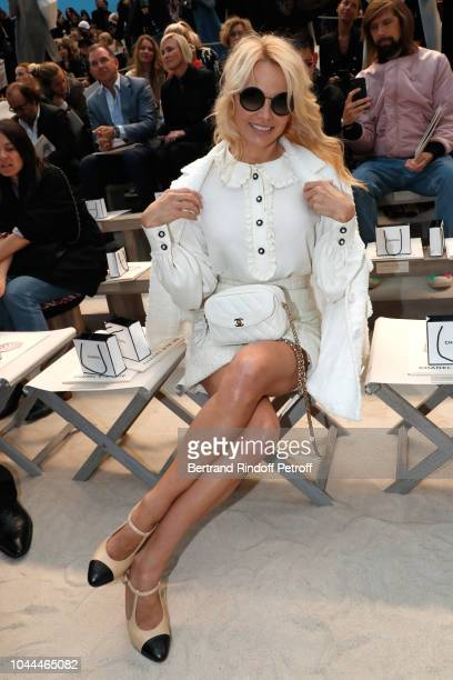 Actress Pamela Anderson attends the Chanel show as part of the Paris Fashion Week Womenswear Spring/Summer 2019 on October 2 2018 in Paris France