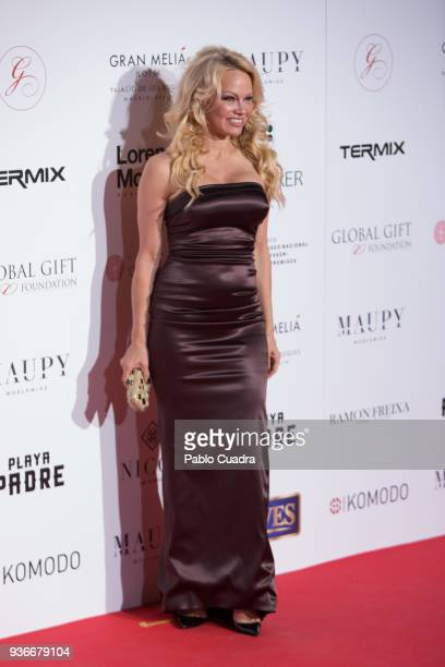 Actress Pamela Anderson attends the III Global Gift Gala at Thyssen-Bornemisza museum on March 22, 2018 in Madrid, Spain.