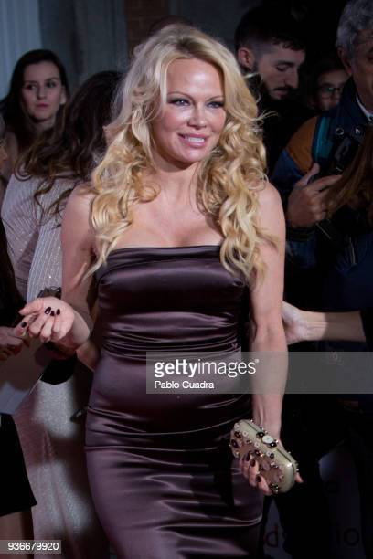Actress Pamela Anderson attends the III Global Gift Gala at ThyssenBornemisza museum on March 22 2018 in Madrid Spain