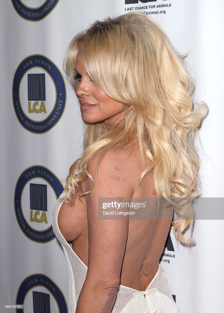 Actress Pamela Anderson attends the Last Chance for Animals Benefit Gala at The Beverly Hilton Hotel on October 24, 2015 in Beverly Hills, California.