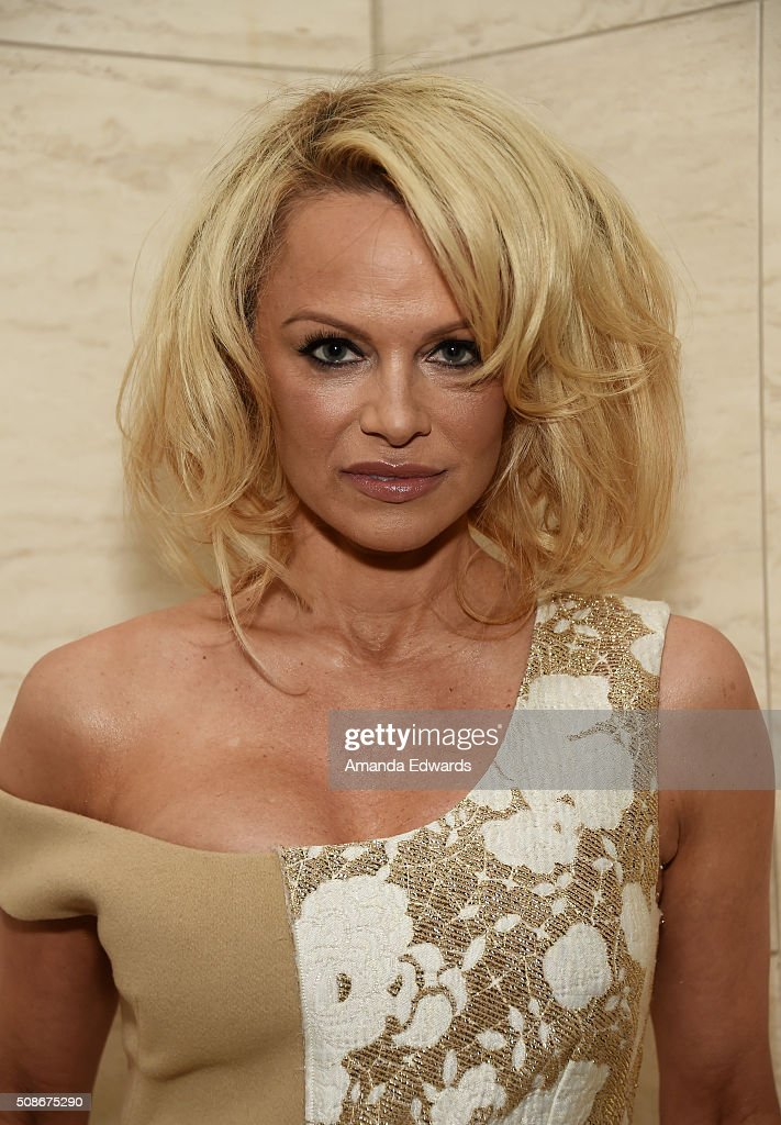 Actress Pamela Anderson attends the Los Angeles special screening and reception of 'Connected' at Milk Studios on February 5, 2016 in Los Angeles, California.