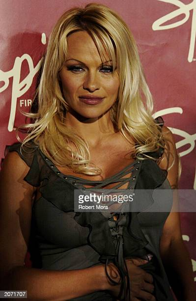 Actress Pamela Anderson attends the official launch party for Spike TV at the Playboy Mansion on June 10 2003 in Holmby Hills California Formerly TNN...