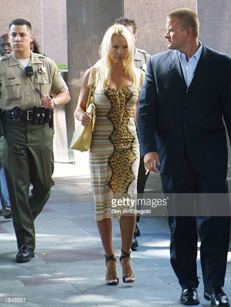 Actress Pamela Anderson exits the Los Angeles County Courthouse for a custody hearing resulting from her divorce to former Motley Crue drummer Tommy...