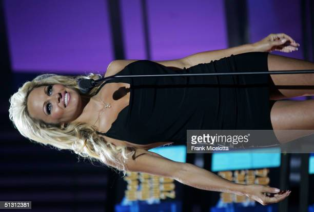 Actress Pamela Anderson is seen on stage during the 2004 World Music Awards at the Thomas and Mack Center on September 15 2004 in Las Vegas Nevada