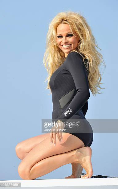 Actress Pamela Anderson launches Operation Zero Tolerance aboard the Sea Shepherd's SS Bridget Bardot at Fisherman's Village on November 2 2012 in...