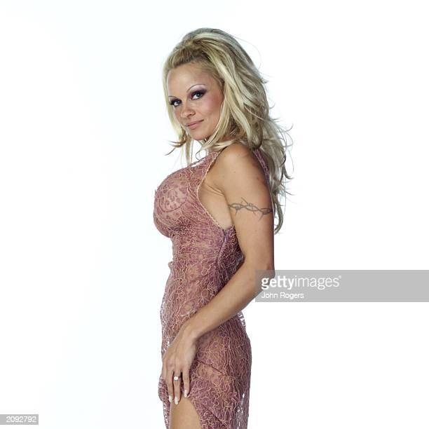 Actress Pamela Anderson poses for studio shots at the MTV Europe Music Awards held at the Palau Sant Jordi Barcelona Spain on November 14th 2002