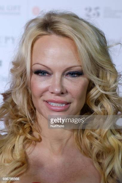 US actress Pamela Anderson poses to the Global Gift Foundation charity gala at the ThyssenBornemisza museum in downtown Madrid Spain 22 March 2018