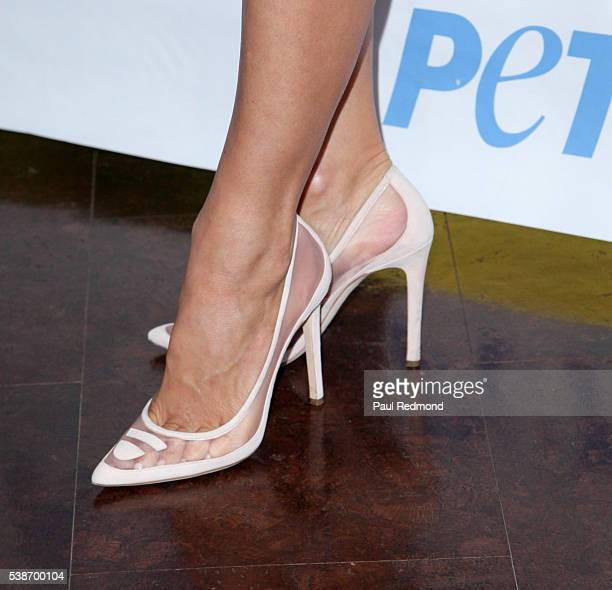 Actress Pamela Anderson shoe detail attends the LA Launch Party for Prince's PETA Song at PETA on June 7 2016 in Los Angeles California