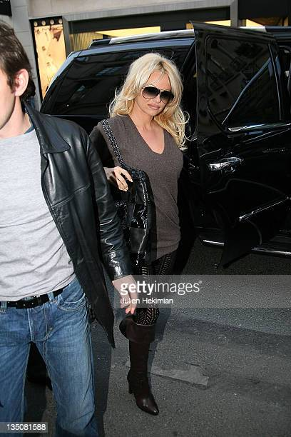 Actress Pamela Anderson shops at the Chantal Thomass boutique on February 13 2008 in Paris France