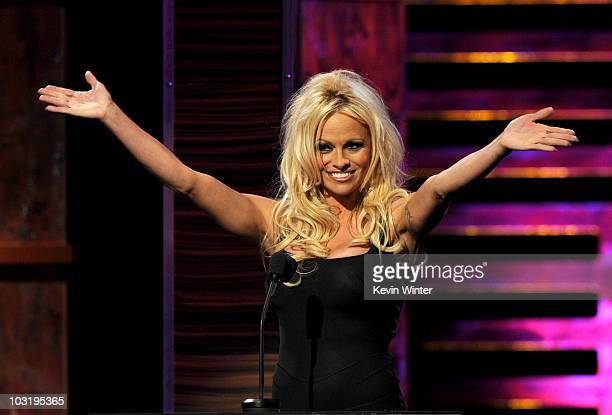 Actress Pamela Anderson speaks onstage at the Comedy Central Roast Of David Hasselhoff held at Sony Pictures Studios on August 1 2010 in Culver City...