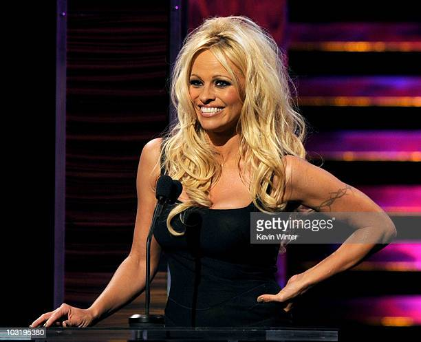 Actress Pamela Anderson speaks onstage at the Comedy Central Roast Of David Hasselhoff held at Sony Pictures Studios on August 1, 2010 in Culver...