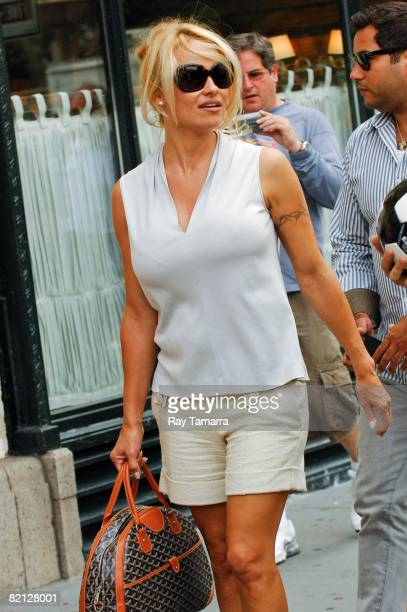 Actress Pamela Anderson walks in Midtown Manhattan on July 30 2008 in New York City