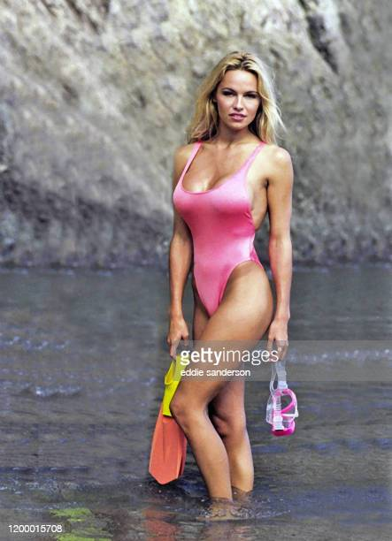 Actress Pamela Anderson wearing swimsuit on Catalina IslandCalifornia during filming of TV series Baywatch in October 1992