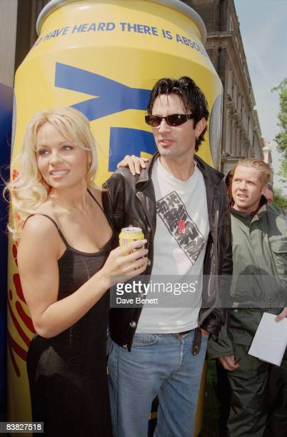 Actress Pamela Anderson with her husband Tommy Lee at the launch of Virgin Energy drink in London 22nd May 1995