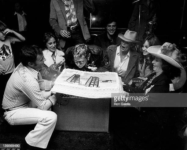 Actress Pamela Bellman actor Bo Hopkins actresses Linda Evans and Pamela Sue Martin and guests attend the birthday party for Bo Hopkins on February 7...