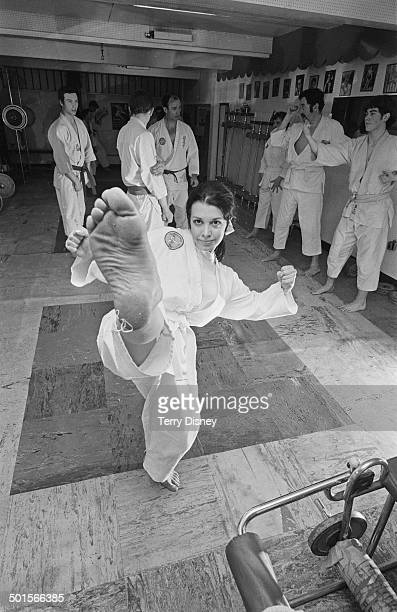 Actress Pamela EytonJones at a the Queensway Karate Club in Queensway London 26th April 1969 She is taking lessons in self defence because she walks...