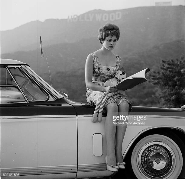 Actress Pamela Searle poses on a car in front of the Hollywood Sign in Los AngelesCA