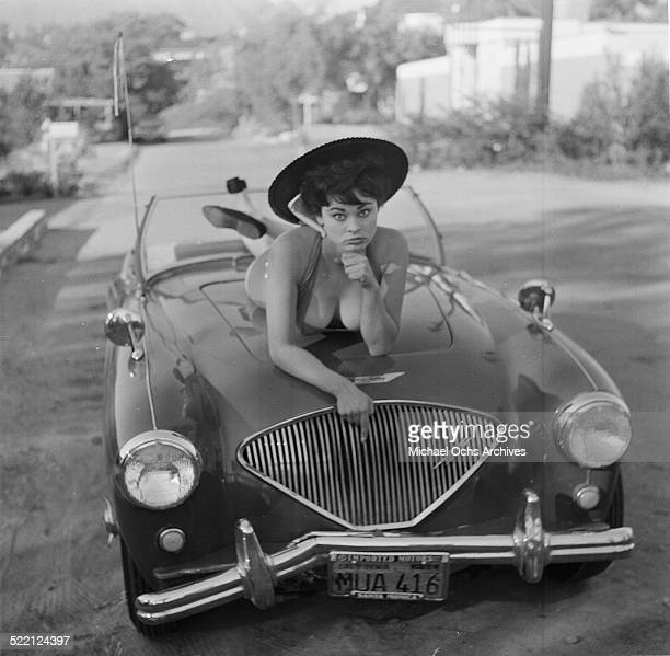 Actress Pamela Searle poses on her car in Los AngelesCA