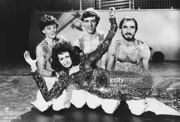 Actress Pamela Stephenson posing with three performers in a sketch from the television show 'Pamela Stephenson Show' November 13th 1981