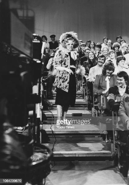 Actress Pamela Stephenson walking through the studio audience in costume during the filming of the television show 'Pamela Stephenson Show' November...