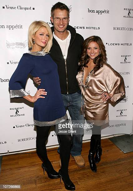 Actress Paris Hilton Actor Johann Urb and Actress Christine Lakin at The Bon Appetit Supper Club Hosts 'The Hottie and the Nottie' party on January...