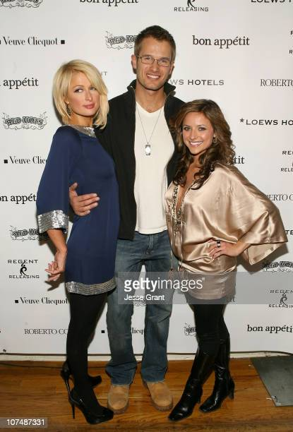 Actress Paris Hilton actor Johann Urb and actress Christine Lakin attend 'The Hottie and The Nottie' Dinner hosted by the Bon Appetit Supper Club on...