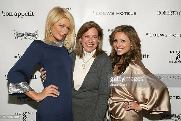 Actress Paris Hilton actress Christine Lakin and guest attend 'The Hottie and The Nottie' Dinner hosted by the Bon Appetit Supper Club on January 20...