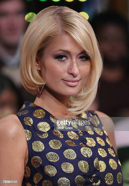 Actress Paris Hilton appears onstage during MTV's Total Request Live at the MTV Times Square Studios on January 29 2008 in New York City