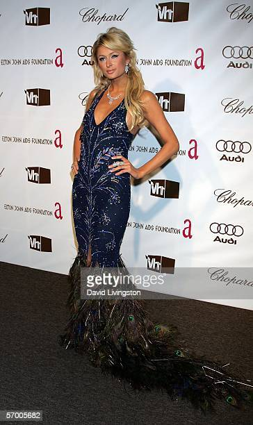 Actress Paris Hilton arrives at the 14th Annual Elton John Academy Awards viewing party held at the Pacific Design Center on March 5 2006 in West...