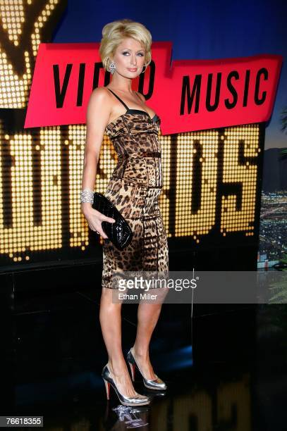 Actress Paris Hilton arrives at the 2007 MTV Video Music Awards held at The Palms Hotel and Casino on September 9 2007 in Las Vegas Nevada