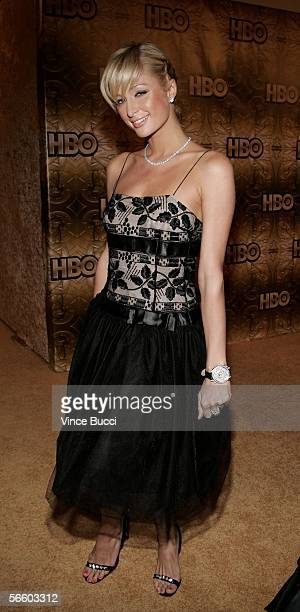 Actress Paris Hilton arrives at the HBO Golden Globe after party held at the Beverly Hilton on January 16 2006 in Beverly Hills California