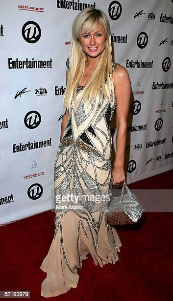 Actress Paris Hilton arrives at Usher's Private Grammy Party hosted by Entertainment Weekly at Geisha House on February 13 2005 in Hollywood...