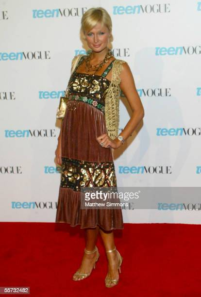 Actress Paris Hilton arrives to the Teen Vogue Young Hollywood Issue Party at The Hollywood Roosevelt Hotel on September 20 2005 in Hollywood...