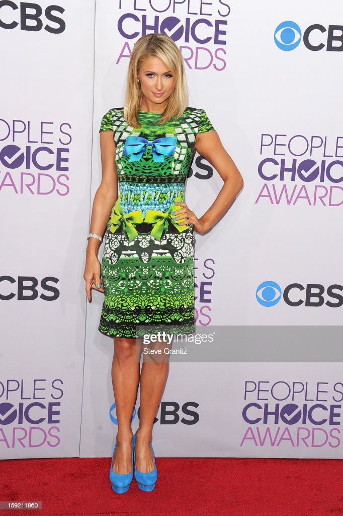 Actress Paris Hilton attends the 2013 People's Choice Awards at Nokia Theatre L.A. Live on January 9, 2013 in Los Angeles, California.