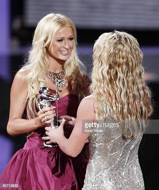 Actress Paris Hilton presents to Britney Soears at the 2008 MTV Video Music Awards on the Paramount Studios lot on September 7 2008 in Los Angeles...