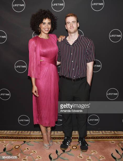 Actress Parisa FitzHenley and actor Murray Fraser arrive at Lifetime's afternoon tea in celebration of the premiere of 'Harry And Meghan A Royal...