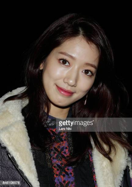 Actress Park Shinhye poses backstage at Coach Spring 2018 fashion show during New York Fashion Week at Basketball City Pier 36 South Street on...