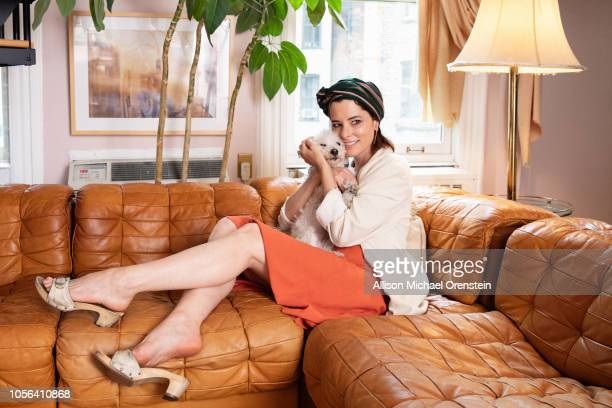 Actress Parker Posey is photographed for Wall Street Journal on June 28, 2018 at home with her bichon frise-poodle-Maltese mix Gracie, in New York...