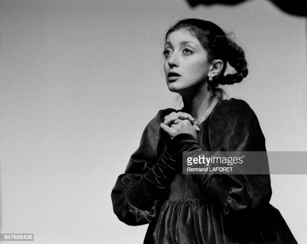 Actress Pascale Ogier at Theatre des Amandiers playing Katherine of Heilbronn of German author Heinrich Von Kleist directed by Eric Rohmer with...