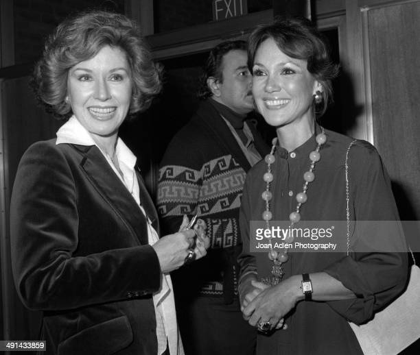 Actress Pat Crowley with actress and former Miss America 1959 Mary Ann Mobley attend a showing of the television movie 'A Family Upside Down' at the...