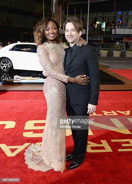 Actress Patina Miller and David Mars attend Hunger Games Mockingjay Part 2 Los Angeles Premiere Sponsored By Chrysler on November 16 2015 in Los...