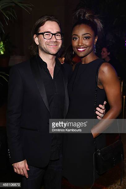 Actress Patina Miller and David Mars attend the Fashion Rocks 2014 After Party at Weylin B Seymour's on September 9 2014 in Brooklyn New York