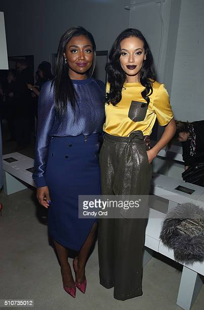 Actress Patina Miller and Selita Ebank attend the Georgine Fall 2016 fashion show during New York Fashion Week The Shows at The Gallery Skylight at...