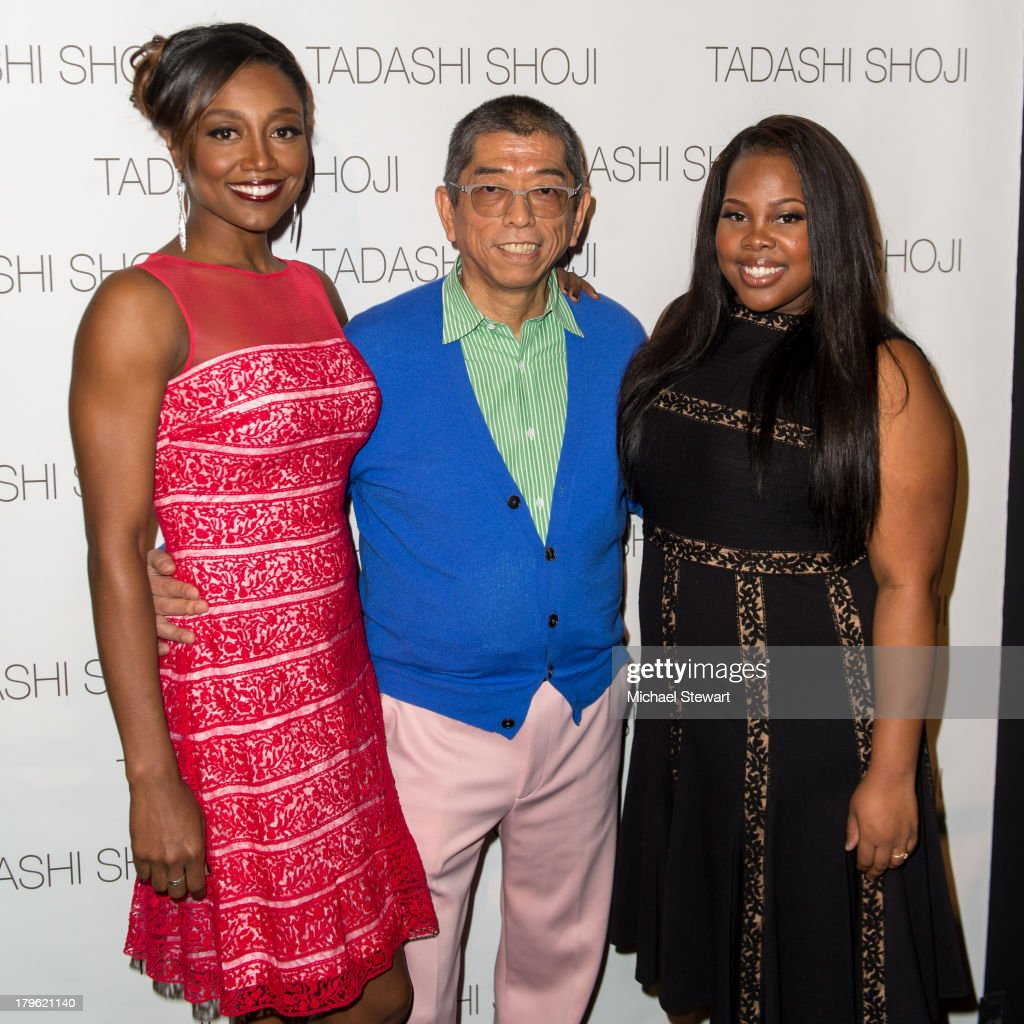 Actress Patina Miller, designer Tadashi Shoji and actress Amber Riley attend the Tadashi Shoji show during Spring 2014 Mercedes-Benz Fashion Week at The Stage at Lincoln Center on September 5, 2013 in New York City.