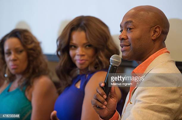 Actress Patrice Lovely actress Kendra C Johnson and actor Palmer Williams attend the press reception with Tyler Perry's 'The Haves The Have Nots'...