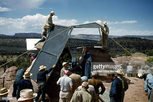 Actress Patrice Wymore gets ready on set as a film crew films the movie Rocky Mountain on location in Gallop New Mexico Starring Errol Flynn and...