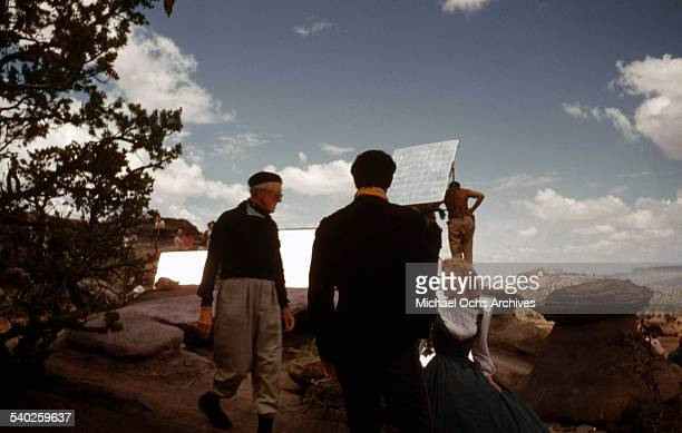 Actress Patrice Wymore listens to director William Keighley as a film crew films the movie Rocky Mountain on location in Gallop New Mexico Starring...