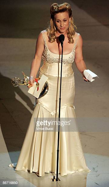 Actress Patricia Arquette accepts her award for Outstanding Actress in a Drama Series for 'Medium' onstage at the 57th Annual Emmy Awards held at the...