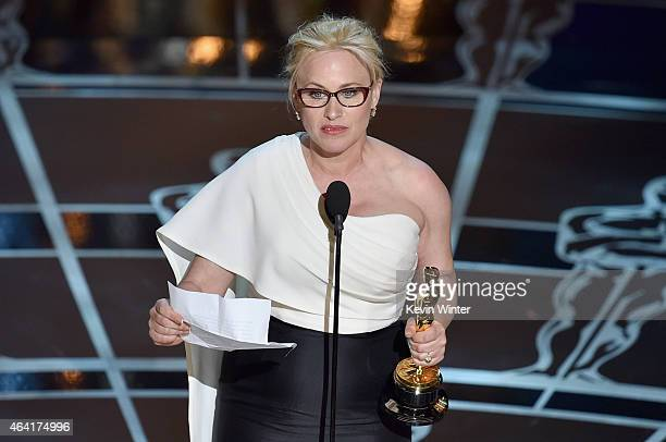 Actress Patricia Arquette accepts the award for Best Actress in a Supporting Role for 'Boyhood' during the 87th Annual Academy Awards at Dolby...