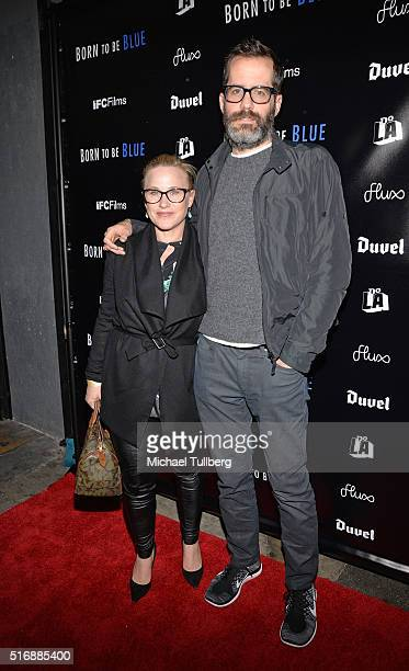 Actress Patricia Arquette and Eric White attend the premiere of IFC Films' 'Born To Be Blue' at the Regent Theater on March 21 2016 in Los Angeles...